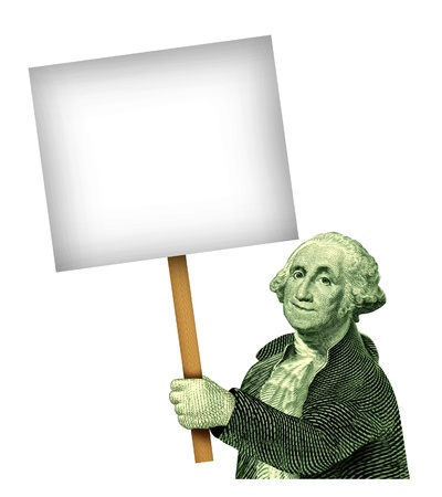 George Washington holding a sign with a wooden handle as a symbol of investments wealth and financial and business communication of savings and great low prices on sale isolated an a white background Stock Photo - 13419661