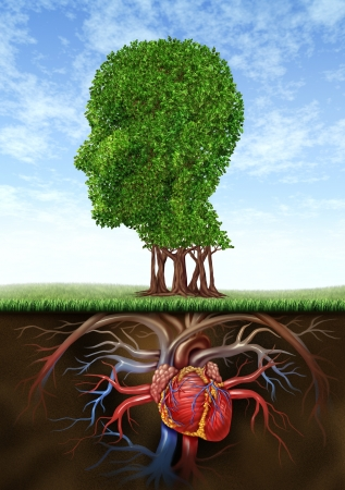 heart intelligence: Healthy heart and mind with a tree in the shape of a human head and a heart organ as roots growing under ground representing the medical and health care biological connection between brain intelligence with blood circulation system