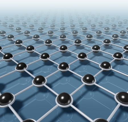 La technologie de réseau et de réseautage et d'affaires de concept de communication avec les sphères noires reliés par reliés par une structure construite de modèle Web Internet qui représente le travail d'équipe et social mondial de distribution de données Banque d'images - 13419673