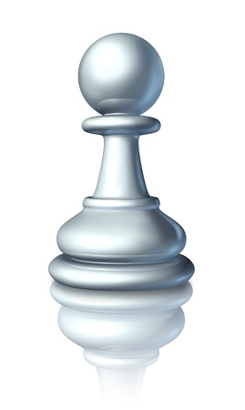 Chess pawn as a business symbol and icon of an expendable worker or low level servant that gets no respect from higher ups as represented by the small board game white piece  Stock Photo - 13419655