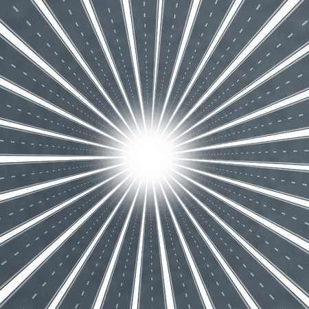 Road star burst design element as a transportation concept and business vision symbol of direction and success in a concentric circle with streets going into a shinning glowing  vanishing point on a white background Stock Photo - 13419664