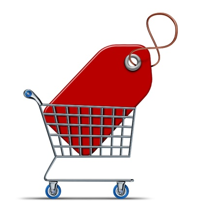 Shopping savings concept with a shopper cart and store basket with a red price tag inside representing consumers and consumerism economy of buying things on discount and using credit cards purchases  photo