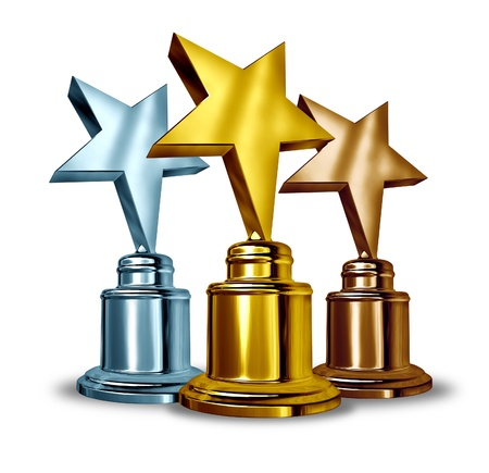 victorious: Gold silver and bronze star trophies and trophy award as the best three winners in a competition as a symbol of achievment and entertainment recognition from your peers and success on white  Stock Photo