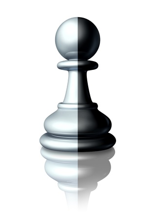 Two faced or double agent secret agent as symbolized by a chess pawn that is painted white and black as a dishonest liar pretending to be somebody else or a symbol of ethnic race and racial equality Stock Photo - 13419652