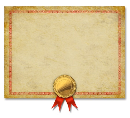 Blank Old grunge certificate with a gold crest and red ribbon as an ornate decorative  diploma frame or merit award for an achievement on a white background
