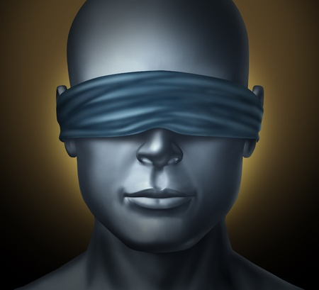 blindfolded: Blindfolded concept with a human head with a blindfold as a symbol of honesty and being a neutral judge with trust and blind justice or living with solitude fear and loneliness in a dark hodstage situation