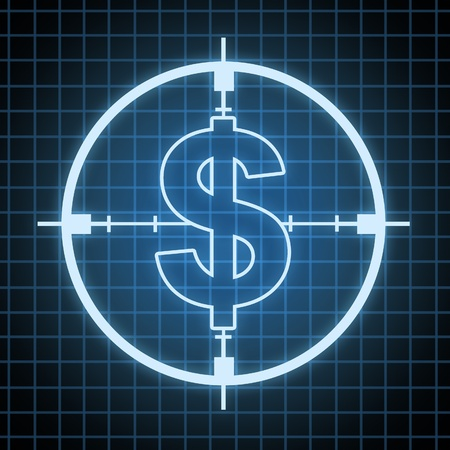 eliminating: Control on Spending and savings concept and hunting for money and looking for wealth ideas with a target in the shape of a dollar sign on a black and blue grid background as a financial icon of  business budget and cutting costs