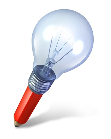 fused: Creative imagination tool and ideas icon with an angled red pencil and a lightbulb fused together as a symbol of creativity and innovation and inspiration for the arts or as a symbol for a new business idea  Stock Photo