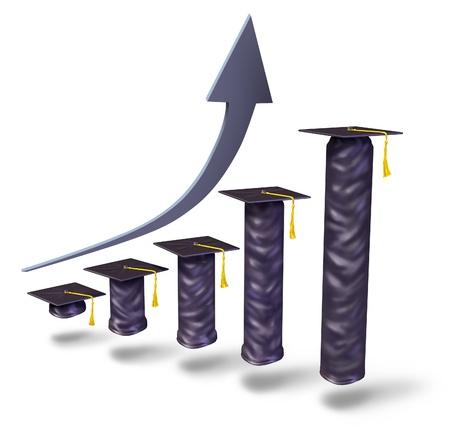 pagando: Aumento de la matr�cula escolar con las tapas de graduaci�n gradualmente el aumento en la altura como un gr�fico de negocio financiero para mostrar la universidad escuela superior y los altos costos de la educaci�n escolar y los costos de la capacitaci�n para obtener un t�tulo sobre un fondo blanco