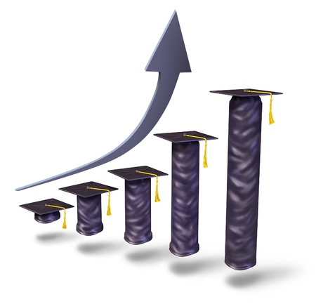 expensive: School tuition rising with graduation caps gradualy increasing in height as a financial business graph to show the higher college university and high school education fees and costs of training for a degree on a white background  Stock Photo