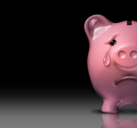 poverty: Financial despair and bankruptcy crisis due to poor savings and bad home finances and budgeting represented by a sad piggy bank crying with a tear of depression on a black background  Stock Photo