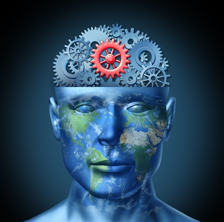 Global business success concept as a human head with a world map and gears or cogs as a symbol of financial intelligence using  international partnership and cooperation in commercial activities of the future  Stock Photo - 13523466