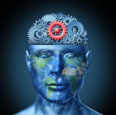 Globalna koncepcja sukcesu w biznesie jako ludzkÄ… gÅ'owÄ… z mapy Å›wiata i narzÄ™dzi lub zÄ™bów jako symbol finansowej inteligencji za pomocÄ… miÄ™dzynarodowego partnerstwa i współpracy w dziaÅ'alnoÅ›ci handlowej w przyszÅ'oÅ›ci Zdjęcie Seryjne