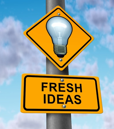 Fresh ideas and new innovative solutions symbol with a road and traffic sign with a light bulb on yellow street signage as an icon of successful direction in developing innovation and inventing original content Stock Photo - 13523414
