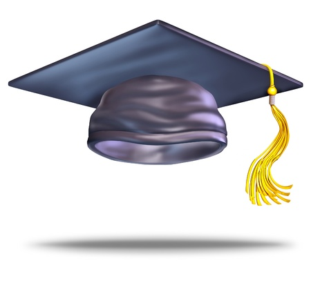 Graduation cap or mortar board with a gold tassel on a blank white bakground as a symbol of education of higher learning from university and college as a celebration of the achievement of learning Stock Photo - 13523385