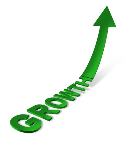 Growth icon with a three dimensional text and arrow pointing up into the future as a prediction or forecast and showing a business and financial concept of success and achievement on a white background