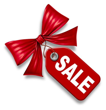 Sale price tag with red silk ribbon bow tie on a white background asa symbol of shopping and buying goods on special as a design element