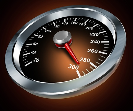 Speed symbol with a race car speedometer from a speeding red hot dashboard as a concept of extreme acceleration velocity and power with a moving gauge