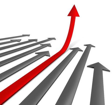 성장은 하늘과 같은 금융 자산에 직접 길로 정상에 상승에 성공 경로는 회색 화살표와 성공적인 비즈니스에 위쪽을 가리키는 특별한 선택 빨간 하나  스톡 콘텐츠