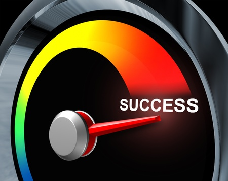 business results: Success speedometer business concept of fast powerful achievement as a result of careful planning of a financial strategy represented by a speed gauge measuring the improvement your goals and aspirations  Stock Photo