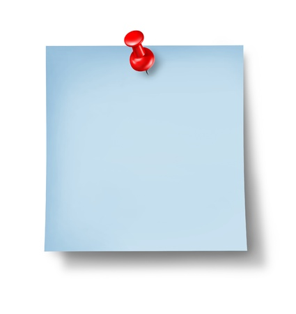 Blank blue office note or sticky paper with a red thumb tack on a white background as a symbol of a business memo or an  important reminder not to forget a message or instruction as a symbol of communication  Stock Photo - 13559397