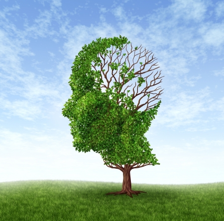 Dementia concept of memory loss due to Alzheimer