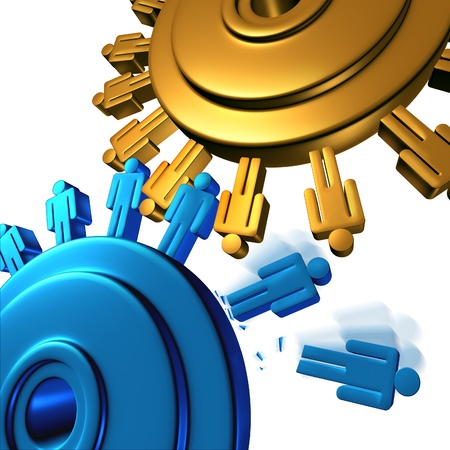 mergers: Downsizing and unemployment with job cuts and losses for better business efficiency with teamwork firings to reduce the work force finincial budget of a company with two gears or cogs in the shape of people icons on white
