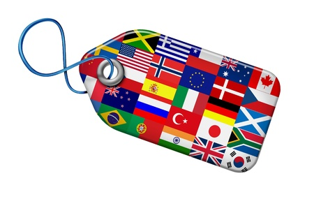 trade union: Global Markets Concept with flags from around the world on a price tag shape as a symbol and icon of the international business and financial economic system and manufacturing industry of the globe isolated on white