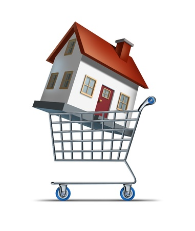 house prices: House shopping and buying homes as a real estate  market symbol with a shop cart and a three dimensional family residence representing the building and construction industry sales on a whte background