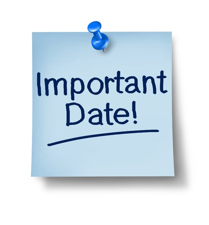 due date: Important date office note with a blue thumb tack on pastel paper representing the communication to remember and not forget an important business message for a special event in the future on a white background