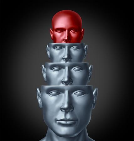 Binnen de creatieve geest en het analyseren van het menselijk brein als een aantal hoofden van mensen in lagen voor intelligente denken en creatieve verbeelding oplossingen of antwoorden op problemen als gezondheidszorg en medische symbool