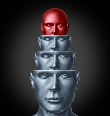brain function: Inside the creative mind and analyzing the human brain as several human heads in layers for intelligent thinking and creative imagination solutions or answers to problems as a health care and medical symbol  Stock Photo