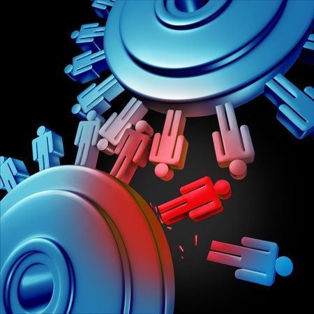 friction: Merger job cuts due to downsizing and unemployment for better business efficiency with teamwork firings to reduce duplicate extra work force cutting the financial budget of a company with two gears or cogs in the shape of people icons on white  Stock Photo