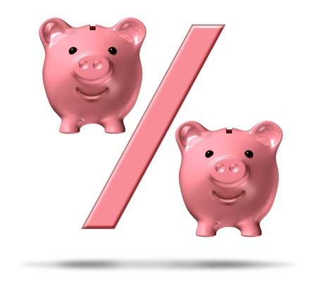 representations: Percentage piggy bank symbol with a percent sign and pink savings pigs as representations in the financial icon representing interest rates and the business of lending and loans on a white background