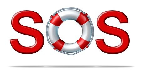 Help SOS symbol with a life preserver as the letter o representing emergency services and rescue assistance insurance for protection and safety from dangers on a white background