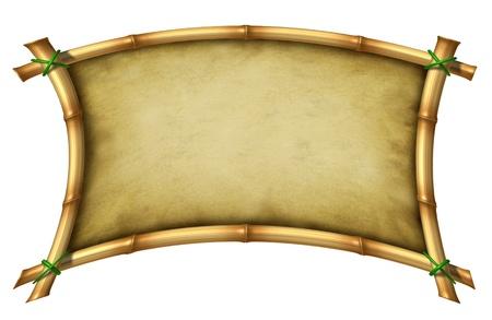 guadua: Tropical de bamb� doblado marco de firmar en blanco como una ex�tica decoraci�n de dise�o tropical, caliente los elementos del clima hecha con palos atados con una cuerda hierba verde con un lienzo grunge pergamino con textura en el fondo blanco