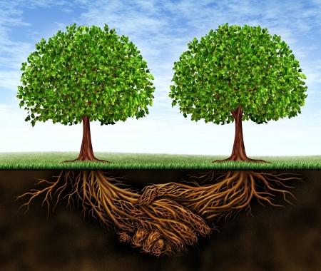 Crescita del business lavoro di squadra come simbolo di cooperazione finanziaria e di trattativa tra le due parti, come alberi che crescono e le radici della pianta della metropolitana a forma di stretta di mano con conseguente crescente successo