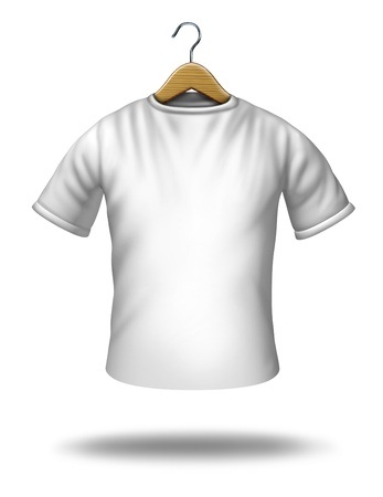 Clothing hanger on a white blank shirt or t-shirt hanging in the air as a symbol of merchandise and textile icon  Stock Photo - 13650232