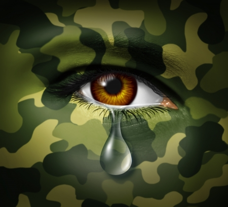 Emotional stress of war as a military hero soldier crying with a sad tear on comouflage painted face representing trauma and mental pain from witnessing loss and traumatic casualties from conflicts