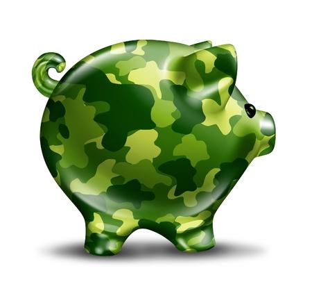 Financiële verdediging bescherming met een strenge militaire camouflage geschilderd piggy bank als een financiële symbool van veiligheid vertrouwen en verzekering tegen dieven en zakelijke misdaden op een witte achtergrond Stockfoto