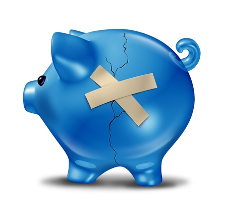 Financial rescue and savings recovery with a broken cracked blue piggy bank and repair tape to help save the finances as support and aid from credit problems due to too much debt Banco de Imagens - 13650238