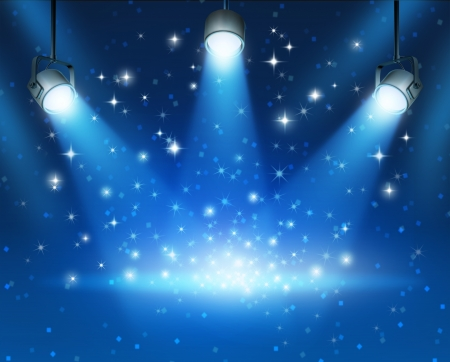 Magical blue abstract image of concert lighting against a dark glowing background Illustration with shiny sparkles with a blank center as a symbol of entertainment and important announcement message
