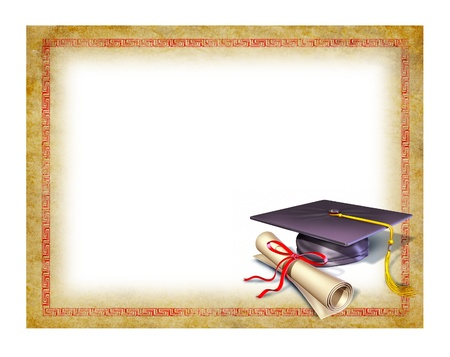 grunge background: Graduation blank diploma