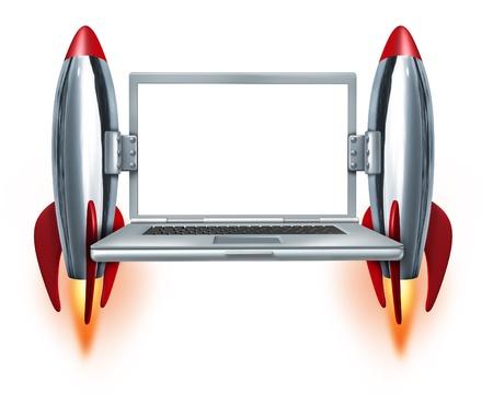 cohetes: Internet de alta velocidad, tecnolog�a, s�mbolo con un ordenador port�til en blanco y dos cohetes despegando como un concepto de la computaci�n en la movilidad r�pida y un servicio t�cnico r�pido sobre un fondo blanco