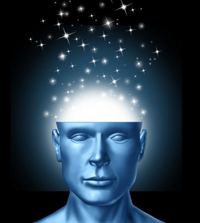 Intelligentes Denken und die Macht der Ideen und Innovationen aus der menschlichen Vorstellungskraft mit einem offenen Kopf und magische Funken, die aus dem Gehirn als Ikone der kreativen Erfolg und klare Vision in die Zukunft