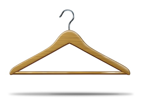 Retail clothing hanger as a symbol of clothes closet storage and store shopping of merchandise and an icon of the commercial textile industry business on a white background  photo