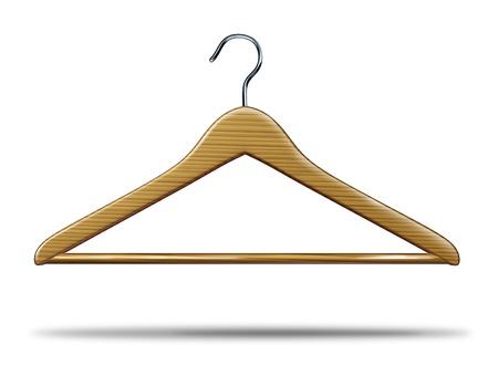 industria tessile: Vendita al dettaglio di abbigliamento gancio come simbolo di ripostiglio vestiti e lo shopping vendite di merci e un'icona del business commerciale settore tessile su uno sfondo bianco