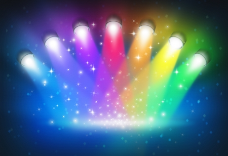 rainbow scene: Spotlights with rainbow colours as a magical abstract background of a concert lighting on a dark glowing theater stage with shiny sparkles with a blank center as a symbol of entertainment and important announcement message