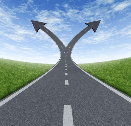 fork in the road: Success decision as a cross roads and upward growth streets in the shape of arrows showing a fork in the path representing the concept of direction when facing two equal or similar options  Stock Photo