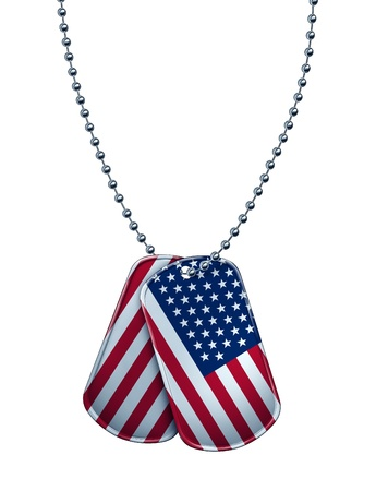 American military dog tag with the flag of the UnitedStates painted on the metal as a patriotic symbol of soldier sacrifice and fight for freedom with the the stars and stripes on the tags